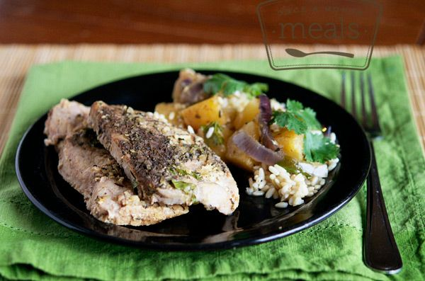 Slow Cooker Jerk Pork with Jerk seasoning, pineapples and cilantro infuse your favorite chops with a delicious flavor as they while slow cook all day.