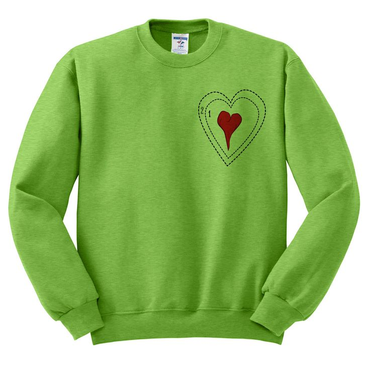 Green Grinch Heart Crewneck Sweater Ugly by TeesAndTankYouShop
