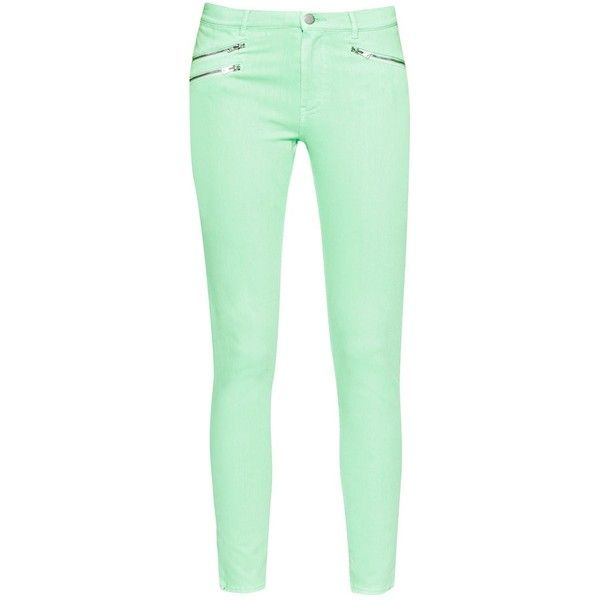 French Connection Lilly Denim Zip Skinny Jean ($110) ❤ liked on Polyvore featuring jeans, pants, bottoms, skinny jeans, pantalones, mint, women, french connection jeans, mint green skinny jeans and denim skinny jeans