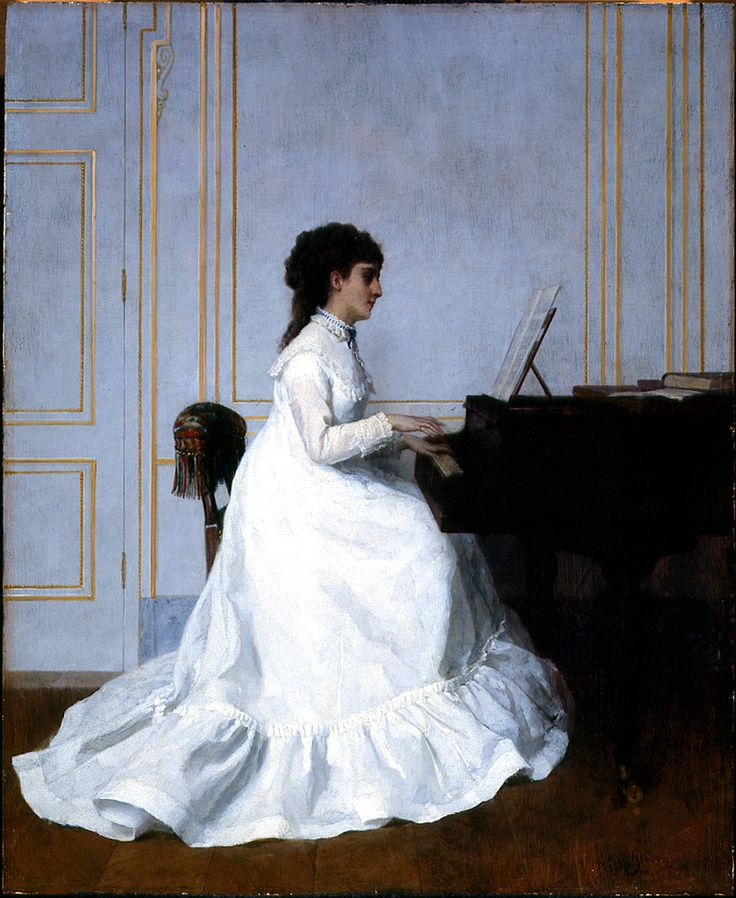 Eva Gonzales at the Piano (Alfred Émile Léopold Stevens - 1879)