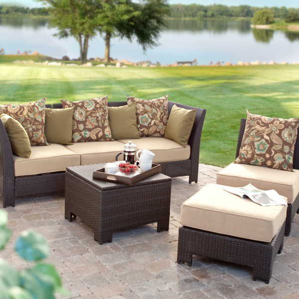 Fiji Bay All Weather Wicker Sectional Set   Seats 4   Conversation Patio  Sets At Patio Furniture USA