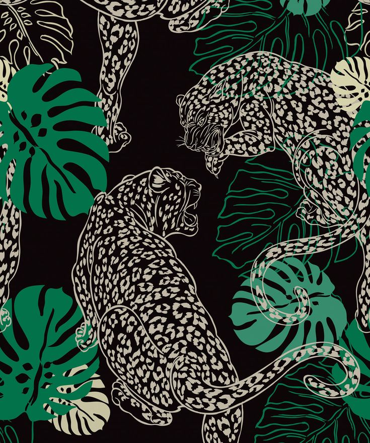 Leopard, Stunning Art Deco Inspired Wallpaper   – tropical