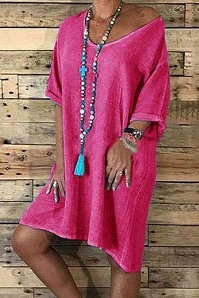 Stylish Casual Loose V-Neck Short-Sleeved Dress