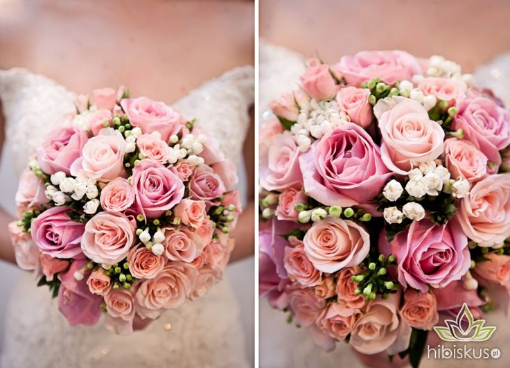 A round bouquet made of pink roses in different sizes with some white bouwardia flowers #pinkwedding #weddingflowers #bukietslubny #pinkroses #hibiskus.pl #flowers #kwiaty #wedding #flower #kwiatki #bride #roses