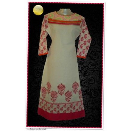 A perfect kurti for a summery day.  # Boat neck  # Kota fabric on neck with neon color embroidery.  # Block printing on sleeves, border & back.  # Cotton Cambric  # Semi stitched, Length- 49 in