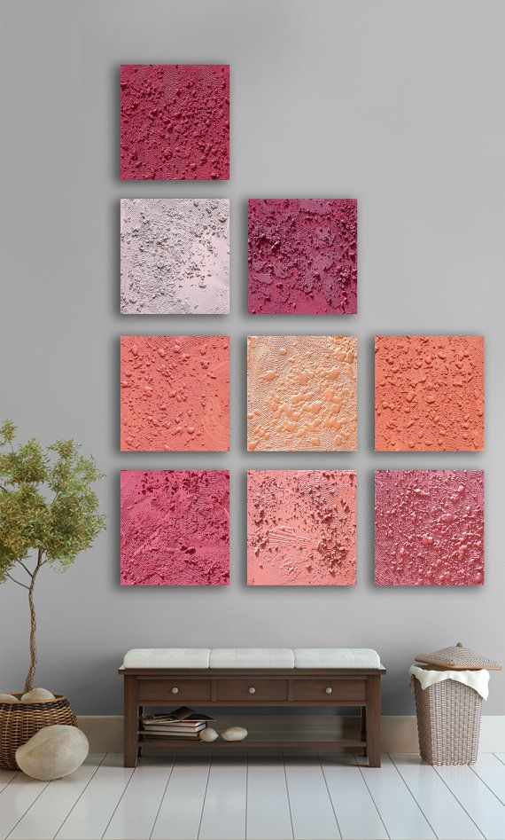 Huge abstract Wall Art- Custom 9 square abstract painting, Modern abstract art, abstract home wall decor - Red, Pink, Grey, Gold,Orange etsy artwork: http://www.etsy.com/listing/92156270/huge-abstract-wall-art-custom-9-square