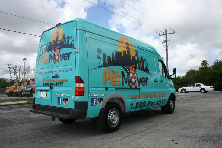 Sprinter van cargo van car wrap for Miami small business customer The Pet Mover.