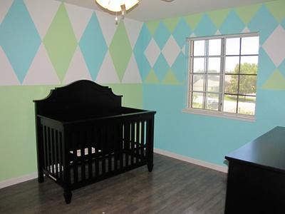 before we decorated: When we found out we were having a baby boy, I instantly started looking for nursery ideas. Oliver's argyle sports nursery theme is perfect for the room