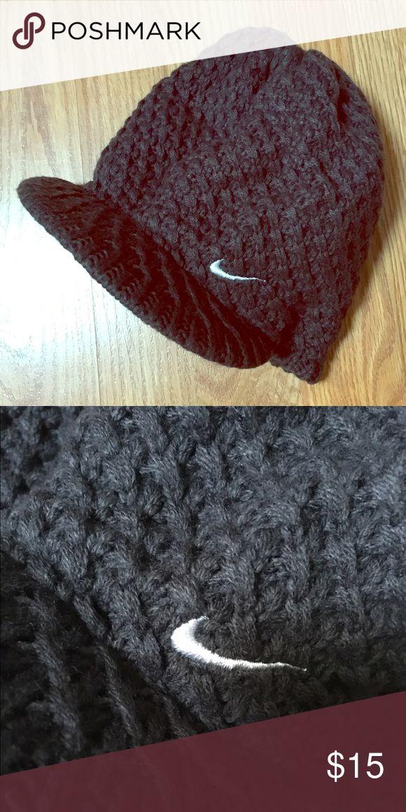 Nike Beanie Grey knit Beanie with visor brim. Never been worn. Nike Accessories Hats