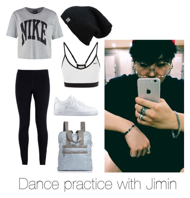 """""""Dance practice with Jimin"""" by bts-outfit-imagines on Polyvore featuring NIKE and LeSportsac"""