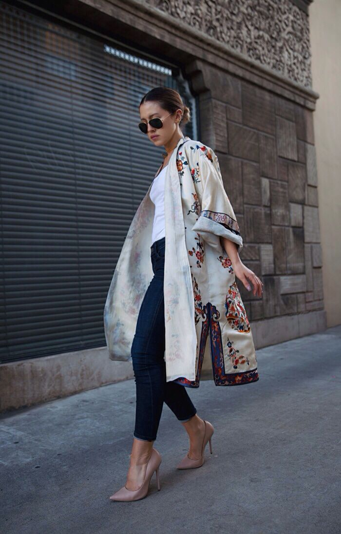 """""""gracespain: vintage silk robe with an American Apparel tank, Citizens of Humanity jeans, Kurt Geiger pumps"""""""