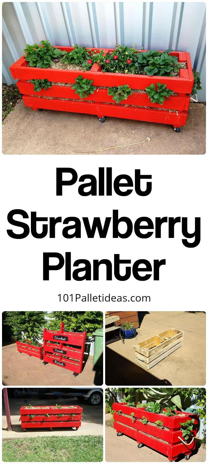 Pallet Strawberry Planter , Vertical and box planter - 101 Pallet Ideas