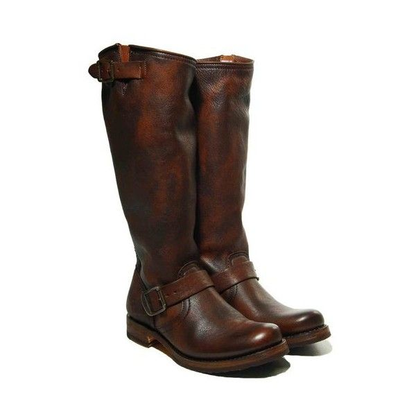 """frye veronica slouch 14"""" shaft 1"""" cuban heel calf shine leather... (890 BRL) ❤ liked on Polyvore featuring shoes, boots, women, small heel boots, slouchy boots, frye boots, cuban heel boots and frye shoes"""