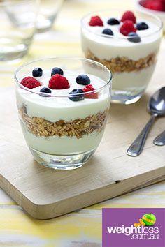 Yoghurt Muesli Cups. #HealthyRecipes #DietRecipes #WeightLossRecipes weightloss.com.au
