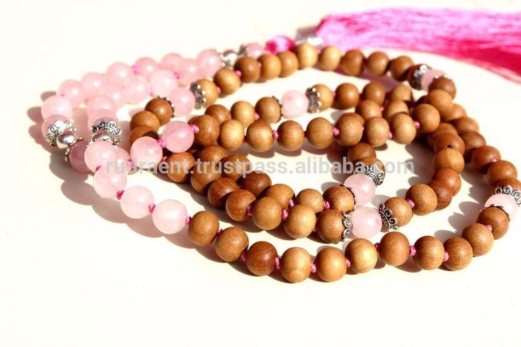 Rose Quartz, Mysore Sandalwood Yoga Mala, Meditation Mala Beads, 108 Beads Japa Mala