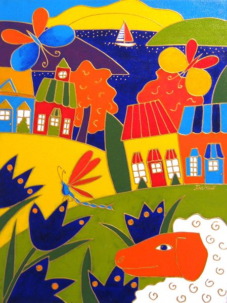 Le mouton et la libellule par Isabelle Malo • Acrylique sur toile • Folk art • www.isamalo.com • Artiste peintre du Québec • Art naïf