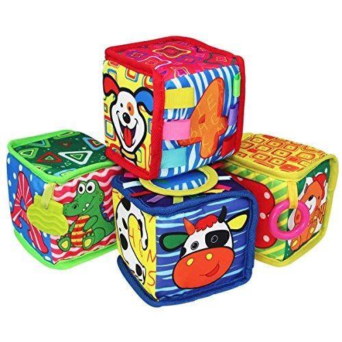 Teytoy 4pcs Infant Baby Early Education Toys Rattles Velvet Cloth Building Blocks Toy Bpa Free For 0 36 Months Baby Gift Ideas Baby Blocks Baby Baby Sense