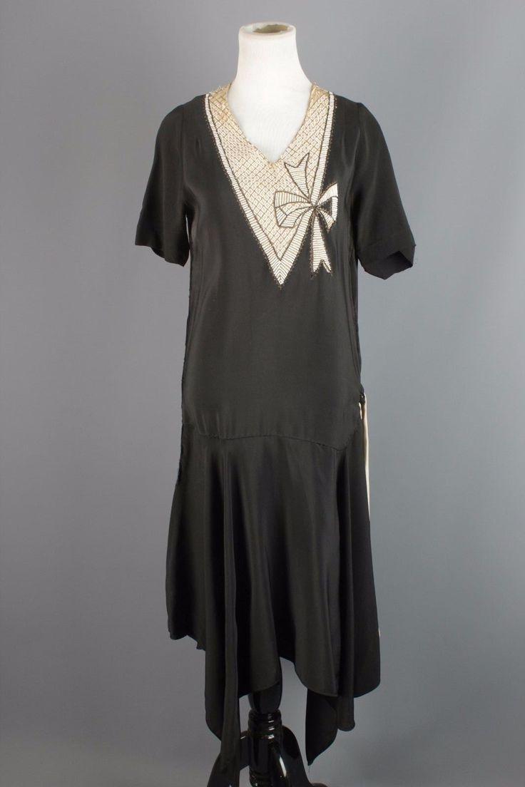 Vtg Women's 20s Black Rayon Beaded Top Dropwaist Dress Flapper #1279 1920s Sz S | eBay