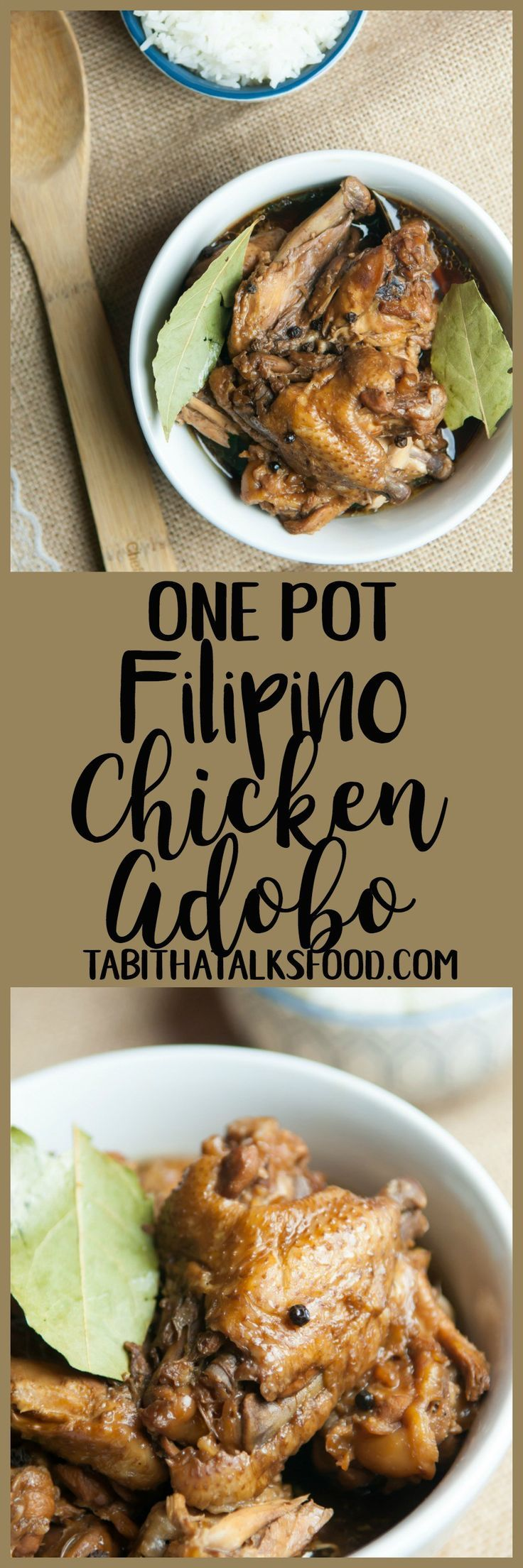 This Filipino chicken adobo is a tender, slow-braised chicken in a soy and vinegar sauce. Ready and on your dinner table in less than an hour!