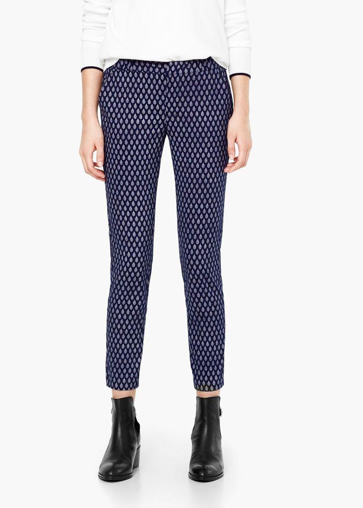 Pantaloni din bumbac imprimați - Pantaloni pentru Femei | MANGO