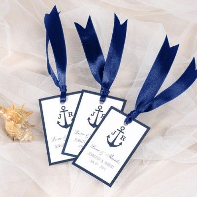 """Navy Blue Nautical Anchor Wedding Favor Tags and Thank You Labels// Use coupon code """"CVB"""" to get 10% off towards all the invitations. #elegantweddinginvites"""