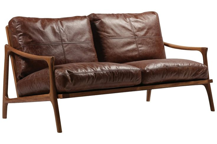 Amazon.de: Sofa Hermes Leder braun Zweisitzer 2-Sitzer ...