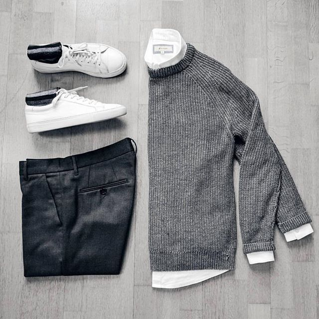 Follow @inisikpe for daily style #SuitGrid to be featured  __________________________ #SuitGrid by: @dimitris_kolonas __________________________  Tap For Brands #inisikpe Sweater: @hm Shirt: @riverisland Trousers: @antonymorato_official Shoes: @jackandjones