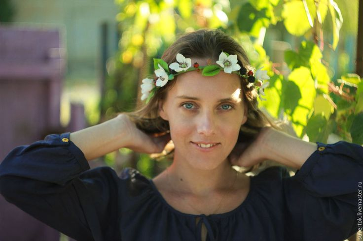 Купить Веночек на голову Цветущая ежевика - тёмно-зелёный, венок, венок из цветов, венок на голову