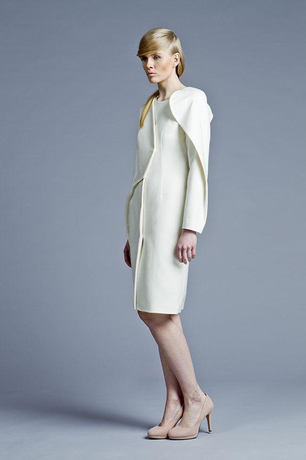 Minimalism in fashion, white coat by Boska by Eliza Borkowska Look Book A/W 2013/14 Model: Magda Roman Photos: Ewelina Petryka & Krystian Szczęsny Make up: Klaudia Majewska