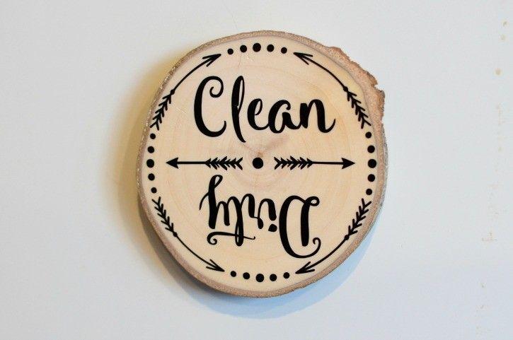 DIY Wooden Slice Dishwasher Clean-Dirty Magnet
