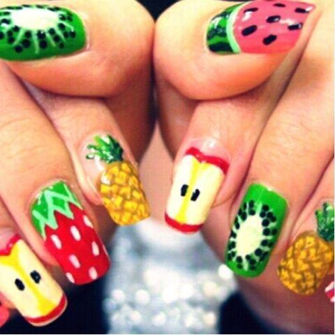 Резултат со слика за photos of FRUIT PRINT nails decorations