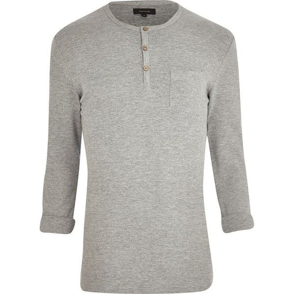 River Island Grey marl waffle textured grandad t-shirt ($6.45) ❤ liked on Polyvore featuring men's fashion, men's clothing, men's shirts, men's t-shirts, long sleeves, sale, mens long sleeve shirts, mens long sleeve waffle knit shirts, men's waffle shirt and mens grey shirt