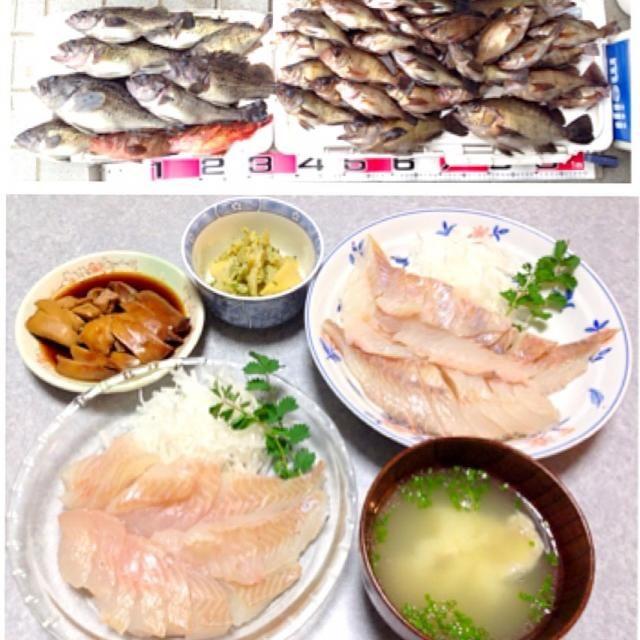 ソイとメバルのお刺身、 ソイとメバルの肝の煮付け、 筍の木の芽和え、 ソイとメバルの味噌汁 です。 - 33件のもぐもぐ - 魚がたくさん釣れたので by Orie Ueki