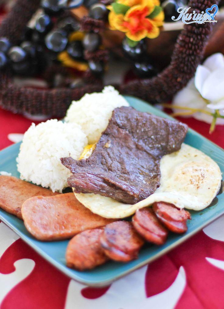 Hawaiian food, Breakfast, spam,rice,egg,Portuguese sausage,beef