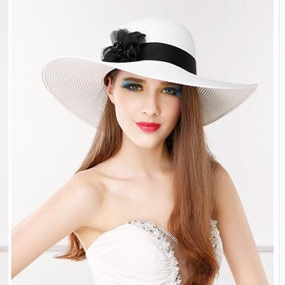 Wide brim straw sun hat for girls flower beach hats UV protection