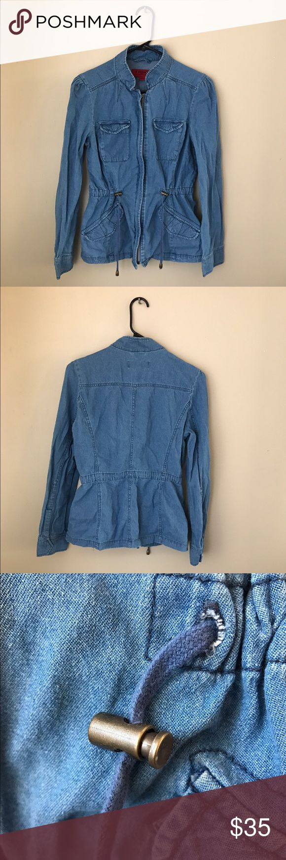Adjustable Waist Denim Zip Up Jacket Women's denim zip up jacket! Size medium. Adjustable fit at the waist for a slimming look. Perfect look for the fall/winter. Only worn once! Jackets & Coats