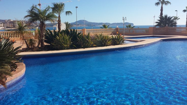 There are two pools. One for children and one bigger (10x18 meter). Here you'll swim with a nice sea view. www.wonderful-calpe.webs.com