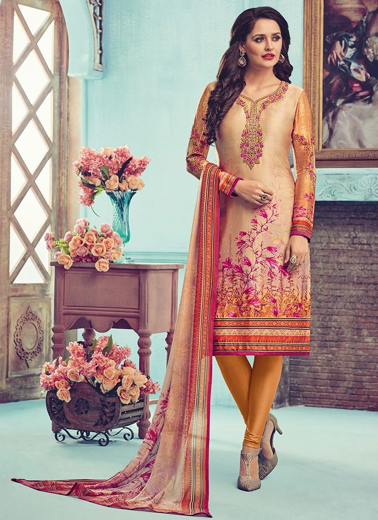 Peach and Orange Embroidered Cambric Cotton Churidar Suit
