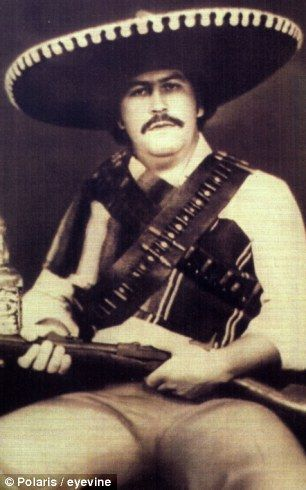 Colombian drugs baron Pablo Escobar, pictured dressed as a Mexican bandit