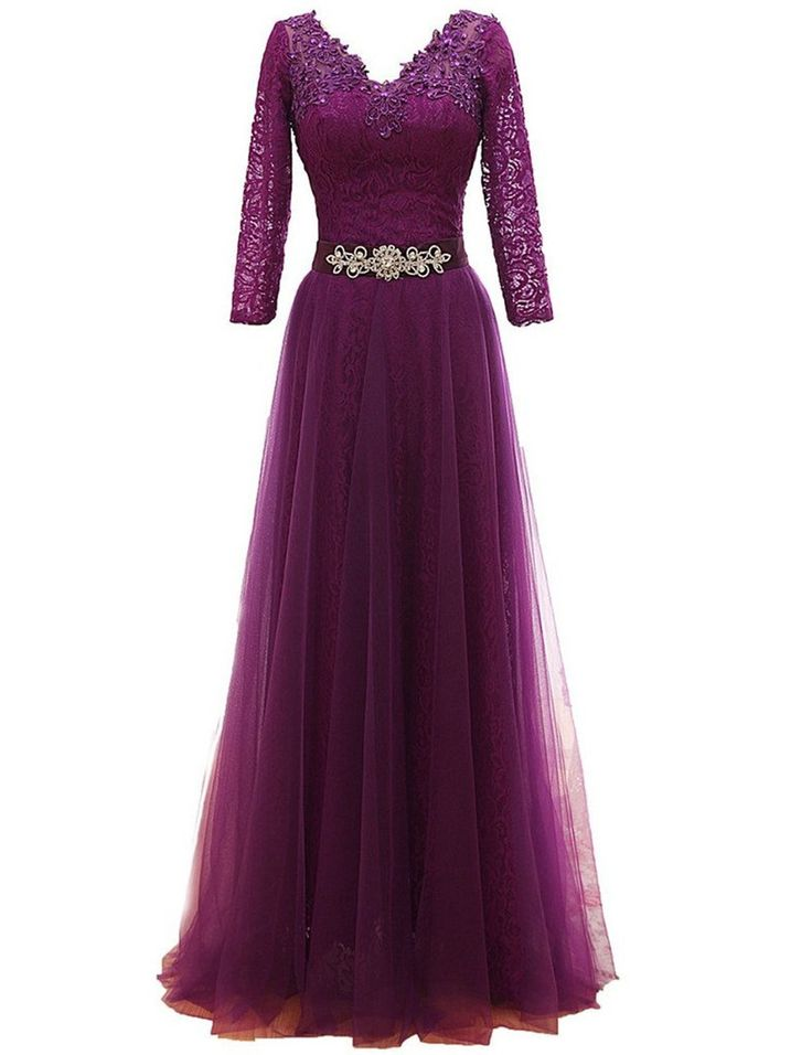 Long Sleeve Formal Dresses 2016 Vestido De Festa De Casamento Elegant Purple Mother of the Bride Long Dresses