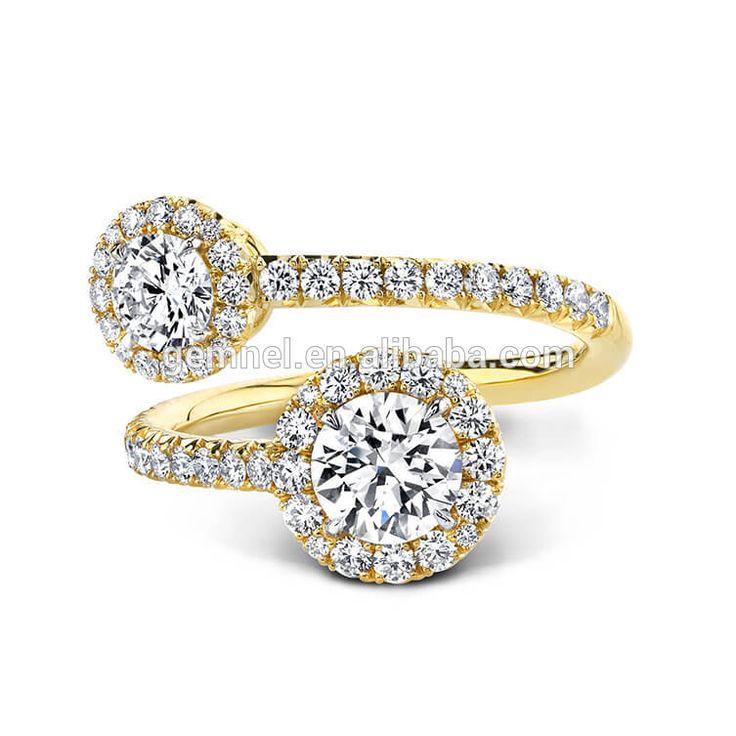 Gemnel fashion discount open bridal 18k gold wedding ring for women