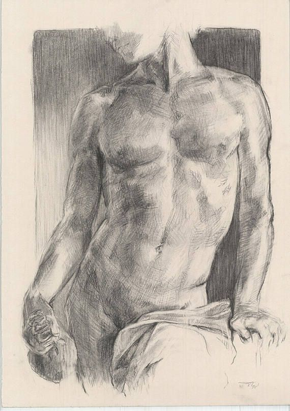 Male nude ORIGINAL DRAWING Charcoal and white chalk Art of nude Naked man Art of nude Study Drawing Size: 27.5 x 20 inches Signed by Artist