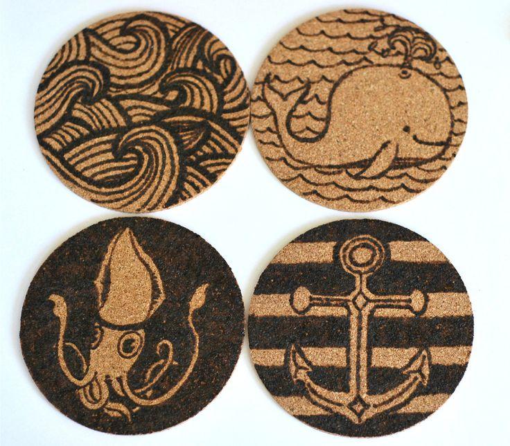 Nautical Themed Cork Coasters