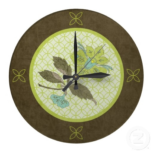 Exceptional Song Of The Lady Slipper Wall Clock This Stunning Design Is Made Up Of A  Gorgeous Lady Slipper Flower In Colors Of Aqua And Lime Green Atop A Muted  Light ...