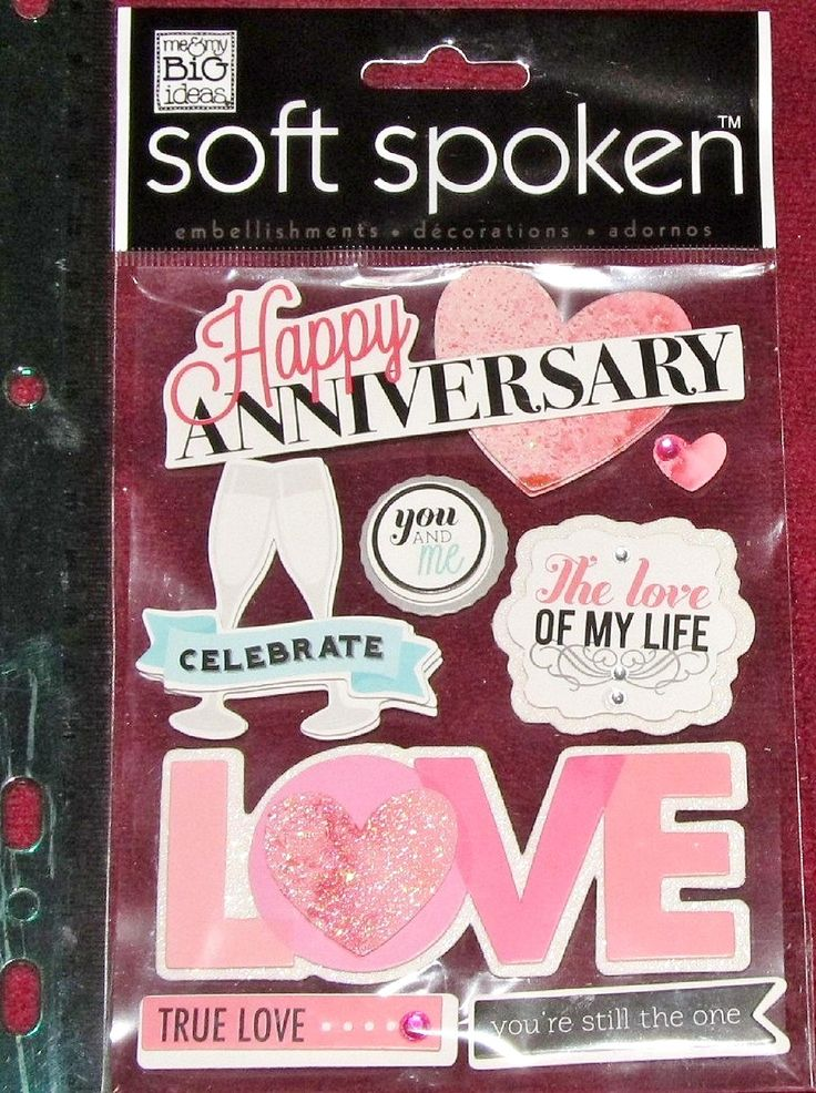 Me & My Big Ideas Dimensional Stickers Soft Spoken Happy Anniversary Love Celebrate Hearts Embellishments Collage Scrapbook Crafts EUC SLD by RosesPatternsEtc on Etsy