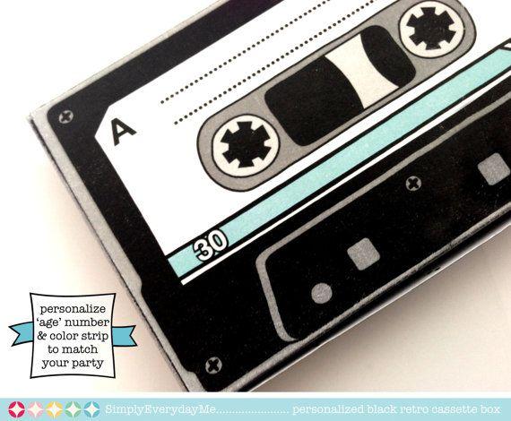 personalized black cassette tape box retro by