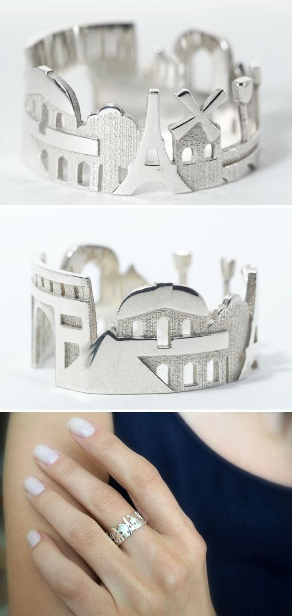 Celebrate the skyline of your favorite city (Paris, anyone?) with a statement ring. #EtsyJewelry
