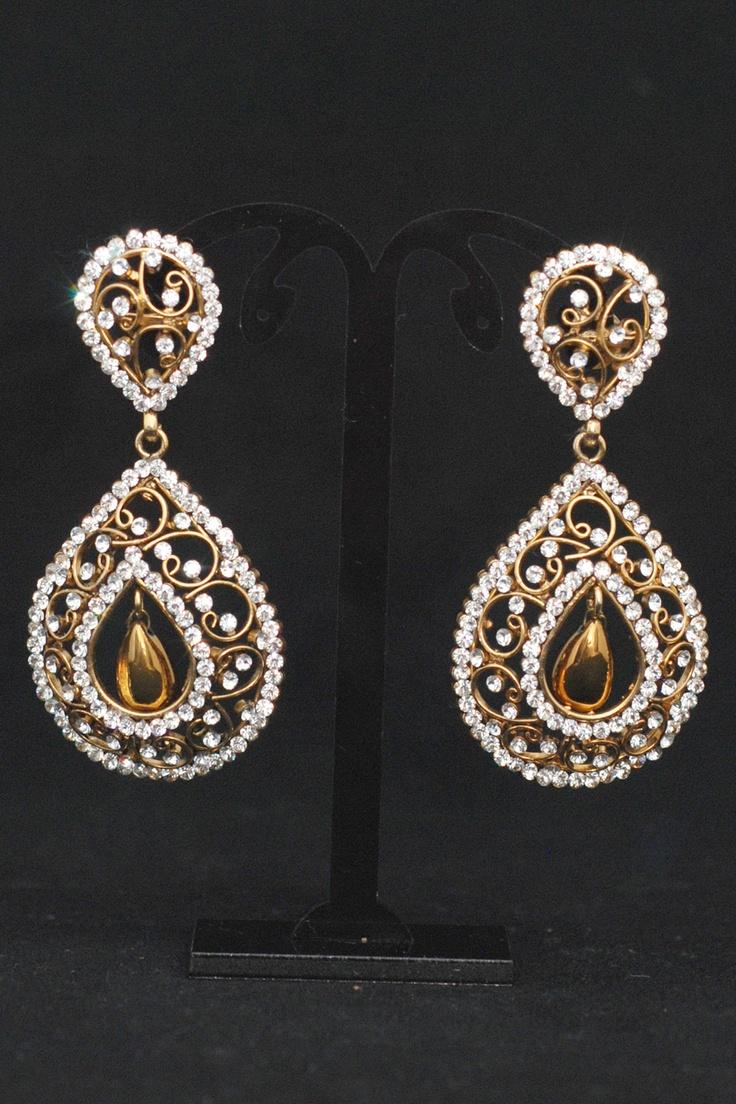 Unique Gold Stone Earrings