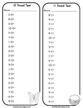 Subtraction Timed Tests for 1st grades with differences