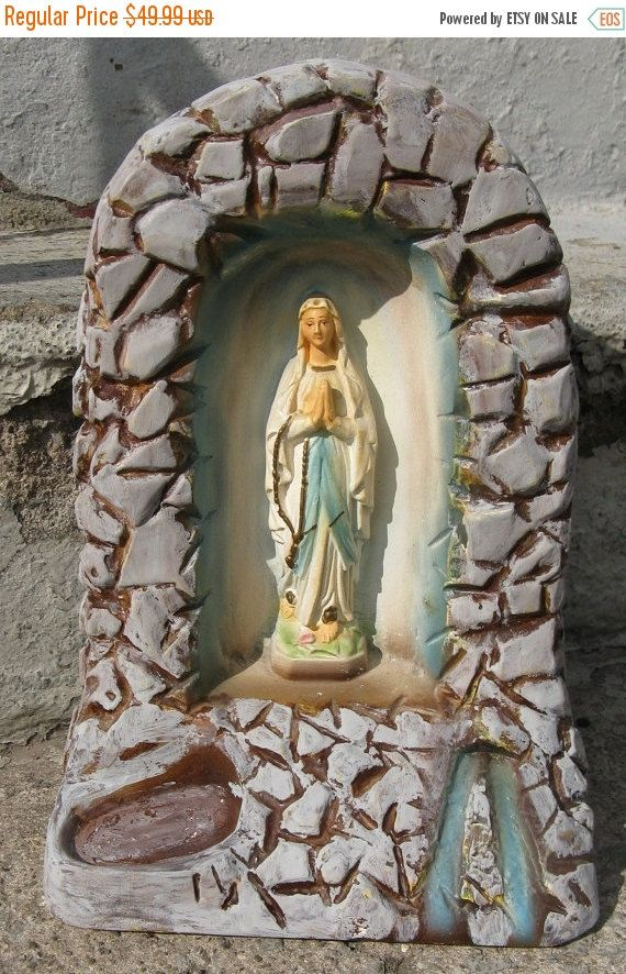 Our lady of lourdes alter vintage chalkware plaster grotto shrine holy statue religious statue